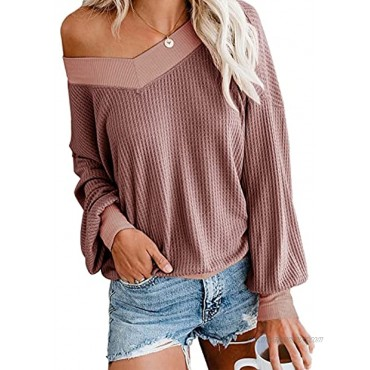 Adreamly Women's V Neck Long Sleeve Waffle Knit Top Off Shoulder Oversized Pullover Sweater