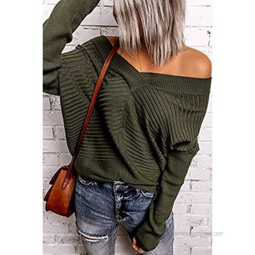 Jollycode Women's Off Shoulder Sweater V Neck Long Sleeve Pullover Loose Ribbed Knit Oversized Jumper Casual Top