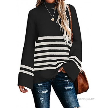 Kaxindeb Womens Mock Neck Pullover Sweaters Oversized Striped Bell Long Sleeve Split Jumper Tops