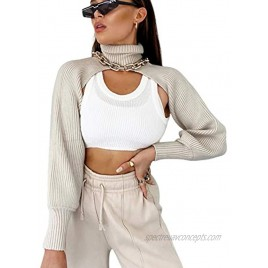 Women Sexy Knit Arm Warmers with Turtleneck-High Collar and Long Puff Sleeve Top