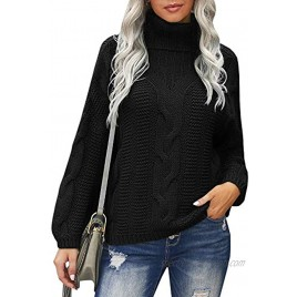 Womens Cable Kint Chunky Pullover Sweater Turtleneck Batwing Long Sleeve Casual Jumper Tops