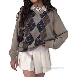 Womens Girls Sweater Y2K Argyle Preppy Knit Sweater Tops Color Block Pullover Sweater Streetwear Outwear