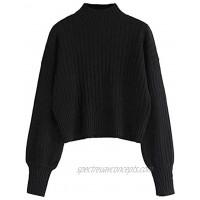 ZAFUL Women's Mock Neck Long Sleeve Ribbed Knit Basic Pullover Sweater