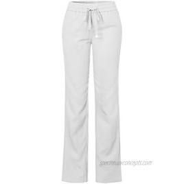 Design by Olivia Women's Comfy Drawstring Elastic Waist Linen Pants with Pocket