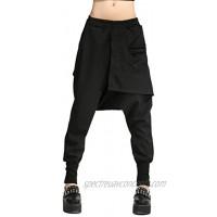 ellazhu Womens Casual Personality Elastic Waist Solid Harem Pants for Women GY696