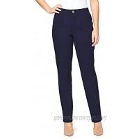 Gloria Vanderbilt Women's Rear Elastic High Waist Pleated Chino Pants