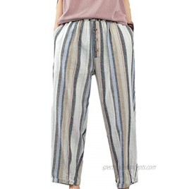 Minibee Womens Striped Linen Pants Casual Wide Leg Cropped Trousers