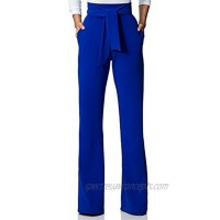 VOIKERDR Women's Casual Stretch Straight Leg High Waisted Long Work Pants with Belt