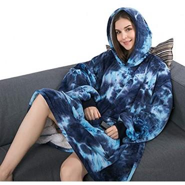 Krifey Wearable Blanket Sweatshirt for Women and Men,Oversized Light Microfiber Big Blanket Hoodie One Size Fits AllDark Blue tie-dye