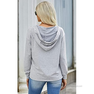 PRETTYGARDEN Women Hoodies Tops Long Sleeve Casual Drawstring Lace V Neck Solid Color Pullover Sweatshirts