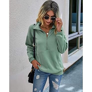 PRETTYGARDEN Women's Casual Long Sleeve Lapel Zipper Sweatshirt Drawstring Loose Pullover Tops With Pockets
