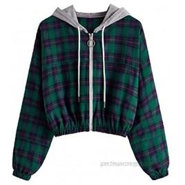 SOLY HUX Women's Long Sleeve Plaid Hoodie Jacket Full Zip Crop Top Sweatshirt