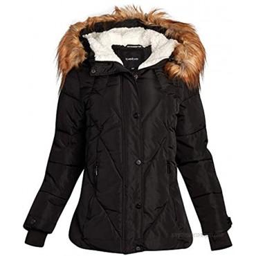 bebe Women's Midweight Bubble Ski Jacket with Sherpa Lined Hood