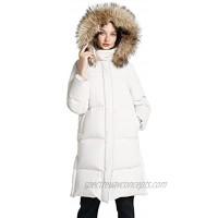 Womens Thickened Long Down Jacket Puffer Coat for Women Long Sleeve FullZip Waterproof Packable Hooded Puffer Jacket
