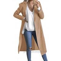Auxo Women Trench Coat Long Sleeve Pea Coat Lapel Open Front Long Jacket Overcoat Outwear Cardigan