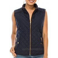 coul J WO902 Women's Quilted Padding Vest w Suede Piping Details & Pockets