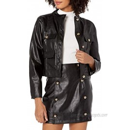 KENDALL + KYLIE Women's Vegan Leather Four Pocket Cropped Jacket