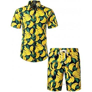 JOGAL Men's Casual Cotton Short Sleeve Button Down Hawaiian Shirt Suits