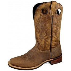 Smoky+Mountain+Men%27s+Timber+Pull+On+Closure+Stitched+Design+Square+Toe+Brown+Distress+Boots+11D