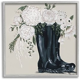 Stupell Industries White Flower Arrangement in Black Boots Painting Design by Penny Lane Publishing Gray Framed Wall Art 12 x 12 Multi-Color