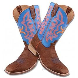 Twisted X Men's 12″ WS Toe Hooey Boot Western Pull-on Boots Cognac Bull Hide & Neon Blue 12 2E