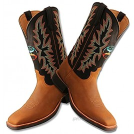Twisted X Men's 12″ WS Toe Hooey Boot Western Pull-on Boots Peanut & Black 9 D