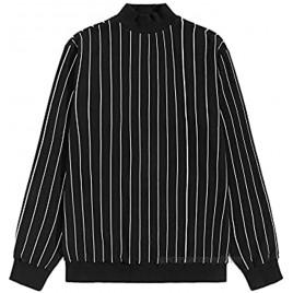 Milumia Men's Causal Crew Neck Striped Print Sweatshirt