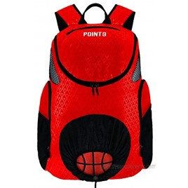 POINT 3 Basketball Road Trip 2.0 Backpack. Basketball Backpack with Drawstring Ball Storage. Built in Compartments for Shoes Water & Clothes Regular Red