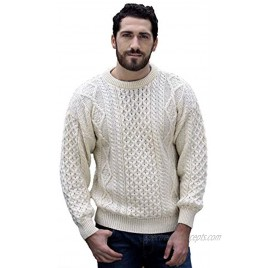 Aran Crafts Irish Soft Cable Knitted Crew Neck Sweater 100% Pure New Wool