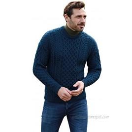 Men's Irish Traditional Aran Wool Pullover Sweater