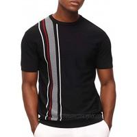 PJ PAUL JONES Men's Vintage Contrast Striped Pullover Sweater Crewneck Short Sleeve Knitwear
