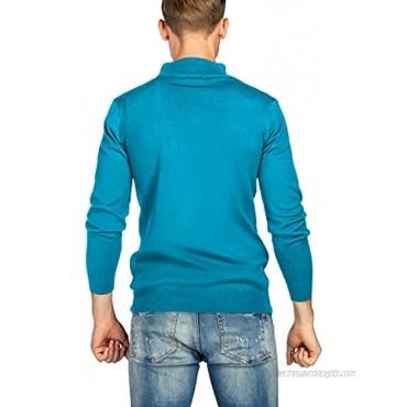 We1Fit Men's Quarter Zip Sweaters Slim Fit Cotton Knitted Mock Turtleneck Pullover