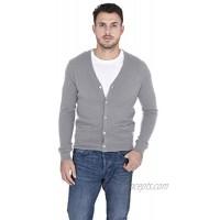Cashmeren Men's Button Down Cardigan 100% Pure Cashmere Classic Knit V-Neck Sweater