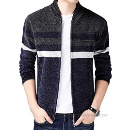 HOW'ON Men's Casual Wide Stripes Zipper Knitted Cardigan Sweater