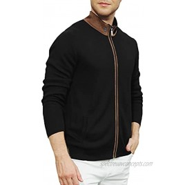 Men's Suede Patchwork Stand Collar Cardigan Full Zip Knitted Sweater Jacket