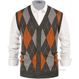 PJ PAUL JONES Men's Sweater Vest Cardigan Button Front Knitwear Contrast Color Argyle Sweater Vest