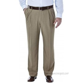 Haggar Men's Big and Tall Big & Tall Expandable Waistband ECLO˜ Stria Pleat Front Dress Pant