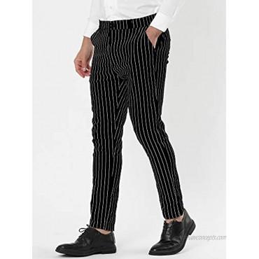 Lars Amadeus Men's Dress Striped Pants Slim Fit Flat Front Business Trousers