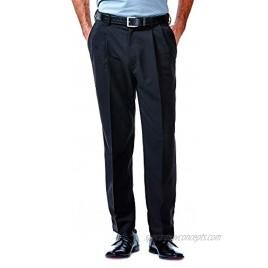 Haggar Men's Cool 18 Hidden Expandable Waist Pleat Front Pant-Regular and Big & Tall Sizes