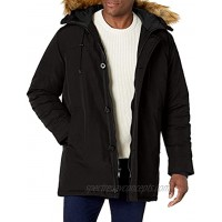 GUESS mens Heavyweight Hooded Parka Jacket With Removable Faux Fur Trim