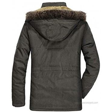 Lentta Men's Military Parka Jacket Winter Warm Fleece Lined Coat with Removable Hood