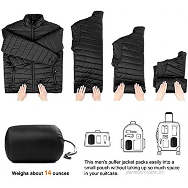 Outdoor Ventures Men's Lightweight Packable Puffer Jacket Insulated for Snow Ski Hiking Traveling