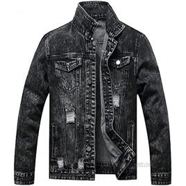 BULUWIE Jean Jacket For Men,Ripped Jacket Slim Fit Fashion Denim Jacket Trucker Jacket Coats