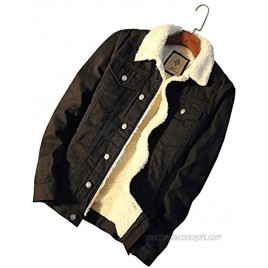 Chartou Men's Classic Collar Single Breasted Shearling Lined Distressed Denim Trucker Jacket