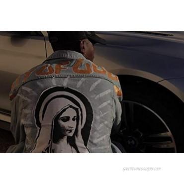 NAGRI Men's Denim Jackets Virgin Mary Trucker Jean Coat Hip Hop Lity of Gods Button Down Jean Jacket