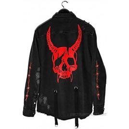 Seidarise Men's black denim jacket Jean Hip Hop Oversized Cropped Street wear Coat