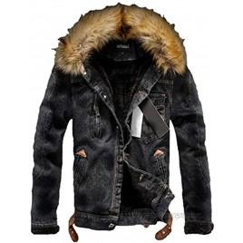 Tebreux Men's Denim Fleece Jacket Casual Faux Fur Collar Sherpa Jeans Coat Winter Trucker Jacket