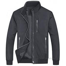 CRYSULLY Men's Lightweight Bomber Jacket Spring Casual Windproof Jacket Coat