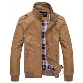 Locachy Men's Stand Collar Softshell Jacket Outerwear Lightweight Zipper Windbreaker Flight Bomber Coat with Shoulder Straps