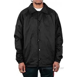Shaka Wear Men's Coach Jacket – Classic Windbreaker Nylon Water Resistance Relaxed Fit Snaps Blank Coat